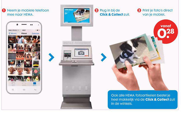 HEMA Click & Collect, digital photo kiosks
