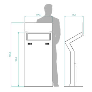 diz1822 L, information kiosk with signage panel, dimensions