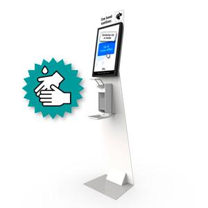 zuil met desinfectie handdispenser