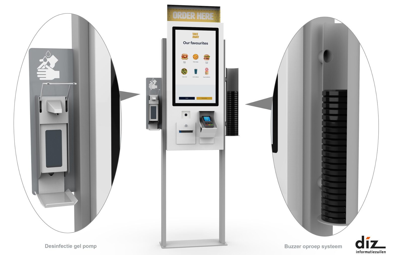 ordering kiosk with disinfection pump